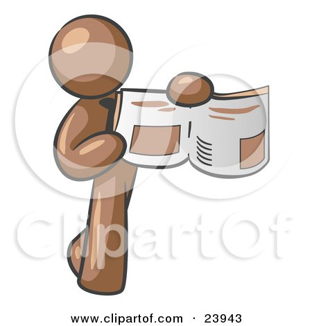 Clipart Illustration of a Brown Man Holding Up A Newspaper And Pointing To An Article by Leo Blanchette