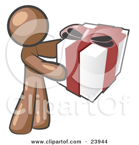 Clipart Illustration of a Thoughtful Brown Man Holding A Christmas, Birthday, Valentine's Day Or Anniversary Gift Wrapped In White Paper With Red Ribbon And A Bow by Leo Blanchette