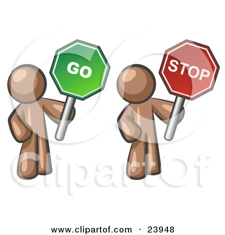 Clipart Illustration of Brown Men Holding Red And Green Stop And Go Signs by Leo Blanchette