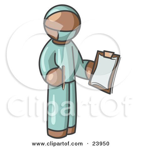 Clipart Illustration of a Brown Surgeon Man in Green Scrubs, Holding a Pen and Clipboard by Leo Blanchette