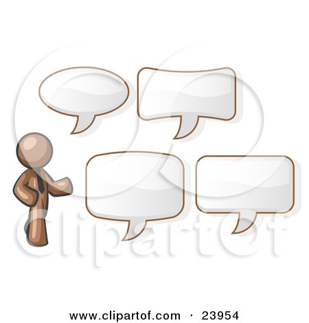 Clipart Illustration of a Brown Businessman With Four Different Word Bubbles by Leo Blanchette