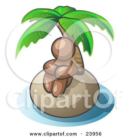 Clipart Illustration of a Brown Man Sitting All Alone With A Palm Tree On A Deserted Island by Leo Blanchette