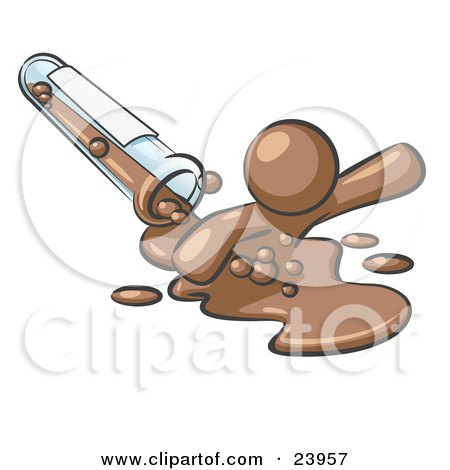 Clipart Illustration of a Brown Man Emerging From Spilled Chemicals Pouring Out Of A Glass Test Tube In A Laboratory by Leo Blanchette