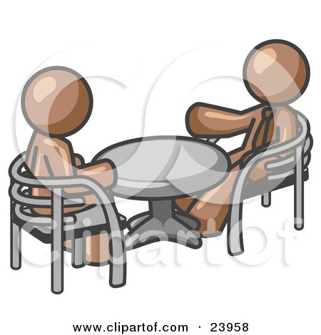 Clipart Illustration of Two Brown Business Men Sitting Across From Eachother at a Table During a Meeting by Leo Blanchette