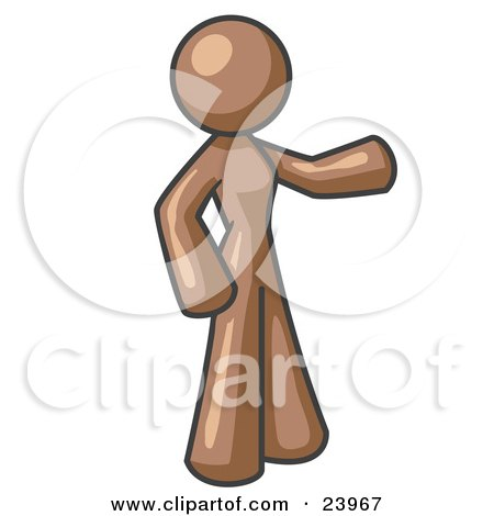 Clipart Illustration of a Brown Woman With One Arm Out by Leo Blanchette