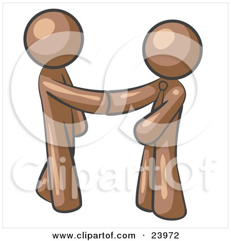 Clipart Illustration of a Brown Man Wearing A Tie, Shaking Hands With Another Upon Agreement Of A Business Deal by Leo Blanchette
