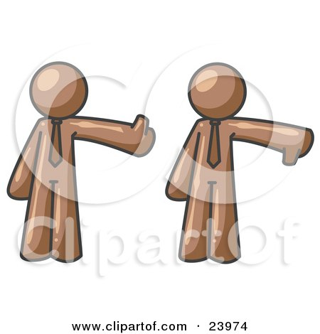 Clipart Illustration of a Brown Business Man Giving the Thumbs Up Then the Thumbs Down  by Leo Blanchette