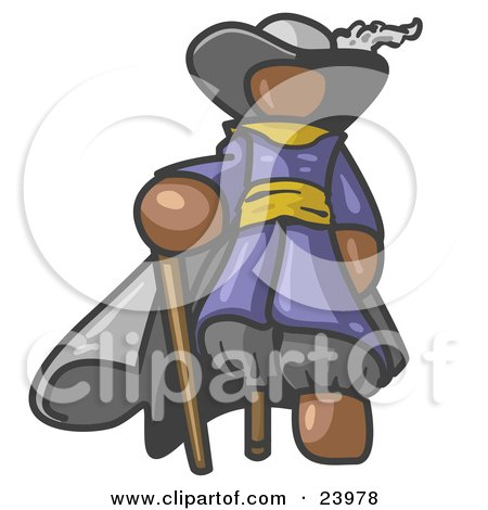 Clipart Illustration of a Brown Male Pirate With a Cane and a Peg Leg by Leo Blanchette