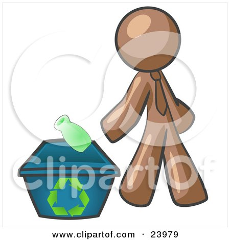 Clipart Illustration of a Brown Man Tossing A Plastic Container Into A Recycle Bin, Symbolizing Someone Doing Their Part To Help The Environment And To Be Earth Friendly by Leo Blanchette