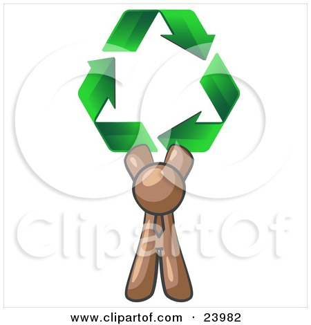 Clipart Illustration of a Brown Man Holding Up Three Green Arrows Forming A Triangle And Moving In A Clockwise Motion, Symbolizing Renewable Energy And Recycling by Leo Blanchette