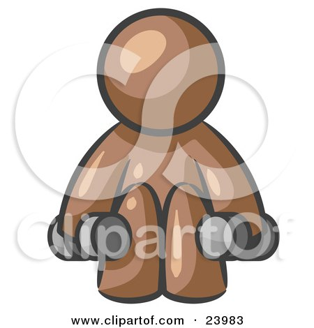Clipart Illustration of a Brown Man Lifting Dumbells While Strength Training by Leo Blanchette