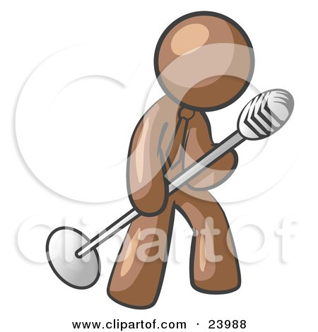 Clipart Illustration of a Brown Man In A Tie, Singing Songs On Stage During A Concert Or At A Karaoke Bar While Tipping The Microphone by Leo Blanchette