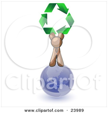 Clipart Illustration of a Brown Man Standing On Top Of The Blue Planet Earth And Holding Up Three Green Arrows Forming A Triangle And Moving In A Clockwise Motion, Symbolizing Renewable Energy And Recycling by Leo Blanchette