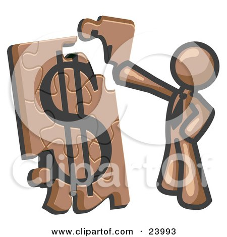 Clipart Illustration of a Brown Businessman Putting a Dollar Sign Puzzle Together by Leo Blanchette