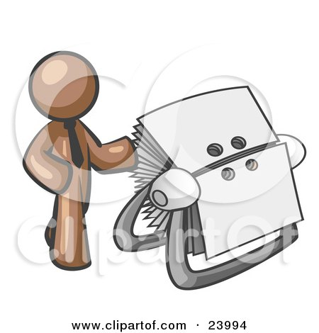Clipart Illustration of a Brown Businessman Standing Beside A Rotary Card File With Blank Index Cards by Leo Blanchette