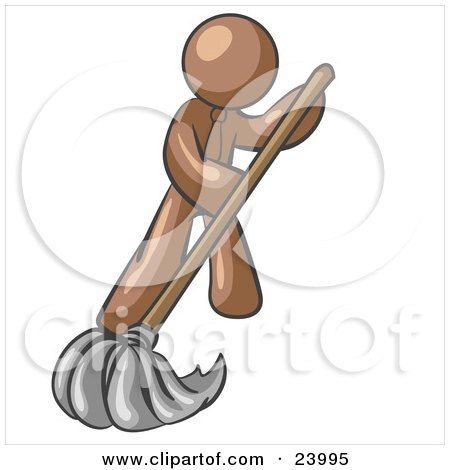 Clipart Illustration of a Brown Man Wearing A Tie, Using A Mop While Mopping A Hard Floor To Clean Up A Mess Or Spill by Leo Blanchette