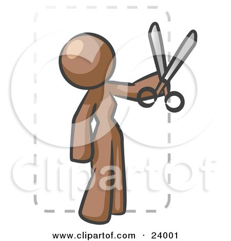 Clipart Illustration of a Brown Lady Character Snipping Out A Coupon With A Pair Of Scissors Before Going Shopping by Leo Blanchette