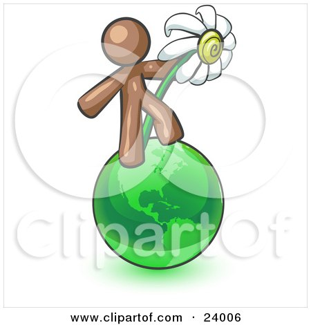Clipart Illustration of a Brown Man Standing On The Green Planet Earth And Holding A White Daisy, Symbolizing Organics And Going Green For A Healthy Environment by Leo Blanchette