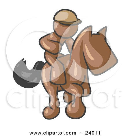 Clipart Illustration of a Brown Man, A Jockey, Riding On A Race Horse And Racing In A Derby by Leo Blanchette