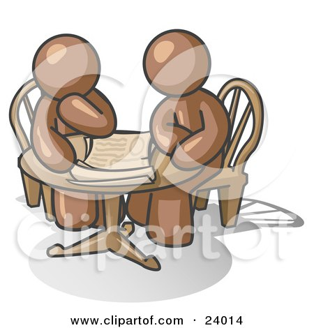 Clipart Illustration of Two Brown Businessmen Sitting at a Table, Discussing Papers by Leo Blanchette
