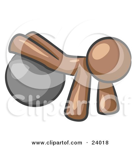 Clipart Illustration of a Brown Man Strength Training His Arms And Legs While Using A Yoga Exercise Ball by Leo Blanchette