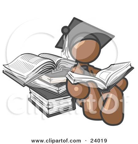 Clipart Illustration of a Brown Male Student in a Graduation Cap, Reading a Book and Leaning Against a Stack of Books by Leo Blanchette