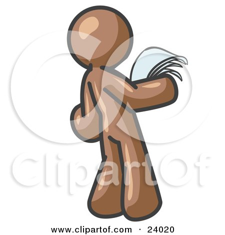 Clipart Illustration of a Serious Brown Man Reading Papers and Documents by Leo Blanchette