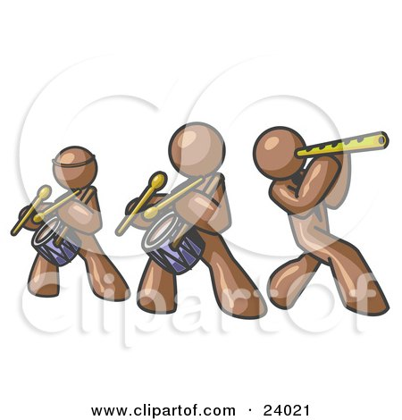 Clipart Illustration of Three Brown Men Playing Flutes and Drums at a Music Concert by Leo Blanchette