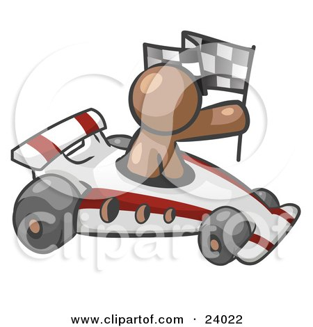 Clipart Illustration of a Brown Man Driving A Fast Race Car Past Flags While Racing by Leo Blanchette