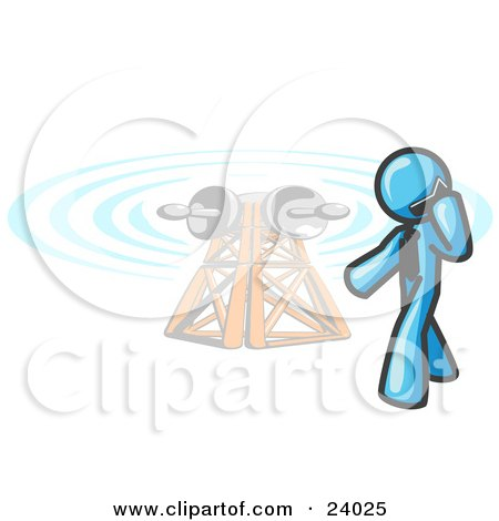 Clipart Illustration of a Light Blue Businessman Talking on a Cell Phone, a Communications Tower in the Background by Leo Blanchette