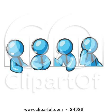 Clipart Illustration of Four Different Light Blue Men Wearing Headsets And Having A Discussion During A Phone Meeting by Leo Blanchette