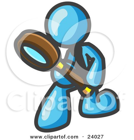 Clipart Illustration of a Light Blue Man Bending Over to Inspect Something Through a Magnifying Glass by Leo Blanchette