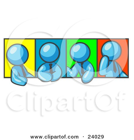 Clipart Illustration of Four Light Blue Men In Different Poses Against Colorful Backgrounds, Perhaps During A Meeting by Leo Blanchette