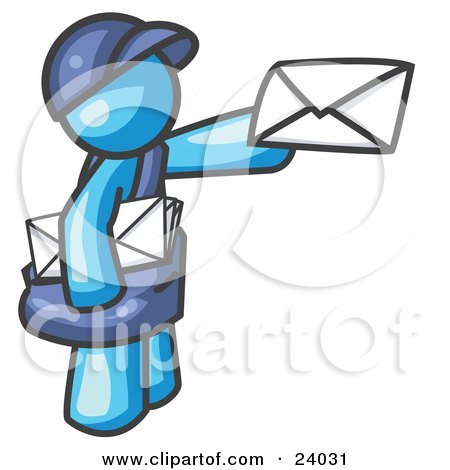 Clipart Illustration of a Light Blue Mail Man Delivering a Letter by Leo Blanchette