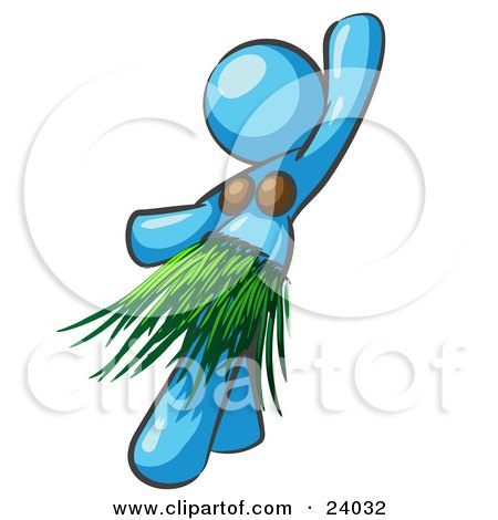Light Blue Hula Dancer Woman In A Grass Skirt And Coconut Shells, Performing At A Luau Posters, Art Prints