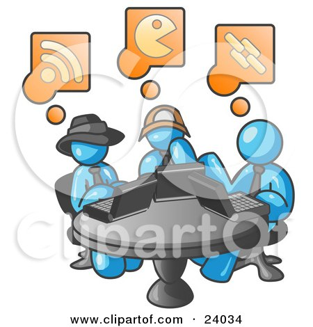 Clipart Illustration of Three Light Blue Men Using Laptops in an Internet Cafe by Leo Blanchette