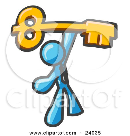 Clipart Illustration of a Light Blue Businessman Holding A Large Golden Skeleton Key, Symbolizing Success by Leo Blanchette