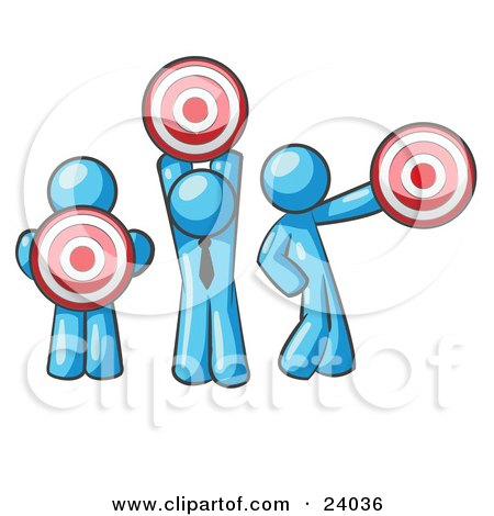 Clipart Illustration of a Group Of Three Light Blue Men Holding Red Targets In Different Positions by Leo Blanchette