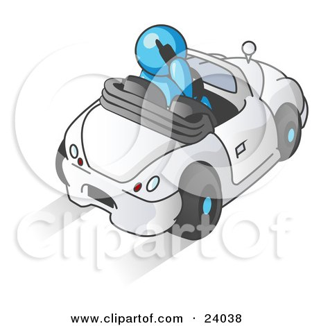 Clipart Illustration of a Light Blue Businessman Talking on a Cell Phone While Driving in a White Convertible Car by Leo Blanchette