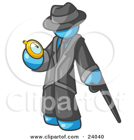 Clipart Illustration of a Light Blue Businessman Checking His Pocket Watch by Leo Blanchette