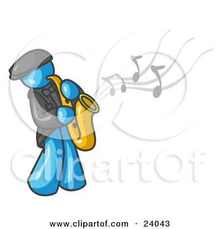 Clipart Illustration of a Musical Light Blue Man Playing Jazz With a Saxophone by Leo Blanchette