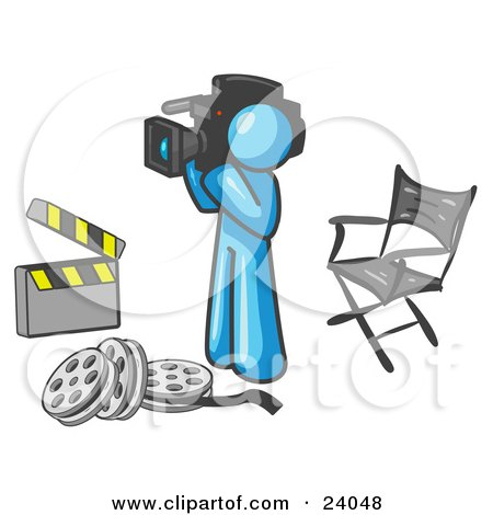 Clipart Illustration of a Light Blue Man Filming a Movie Scene With a Video Camera in a Studio by Leo Blanchette