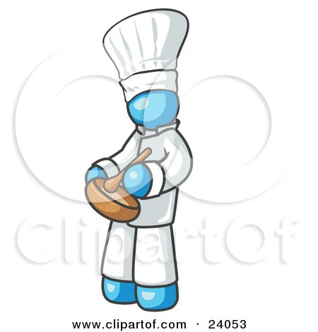 Clipart Illustration of a Light Blue Baker Chef Cook in Uniform and Chef's Hat, Stirring Ingredients in a Bowl by Leo Blanchette