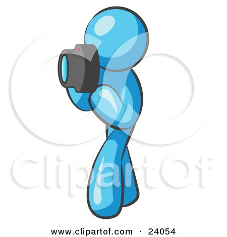 Clipart Illustration of a Light Blue Man Character Tourist Or Photographer Taking Pictures With A Camera by Leo Blanchette