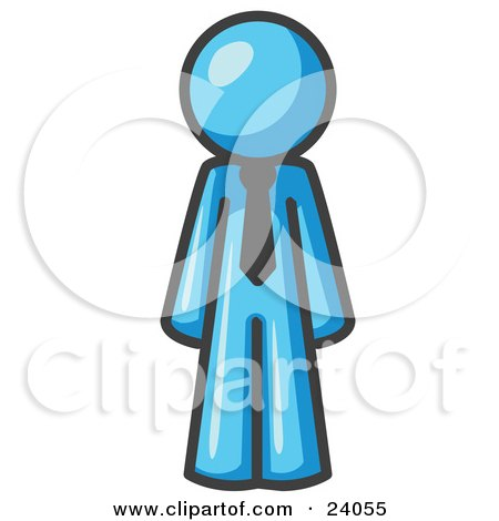 Clipart Illustration of a Light Blue Business Man Wearing a Tie, Standing With His Arms at His Side by Leo Blanchette