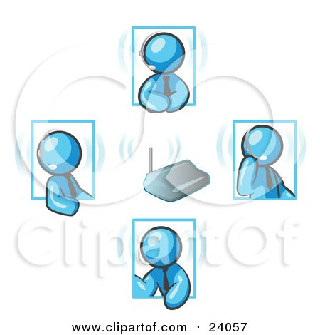 Clipart Illustration of Light Blue Men Holding A Phone Meeting And Wearing Wireless Headsets by Leo Blanchette