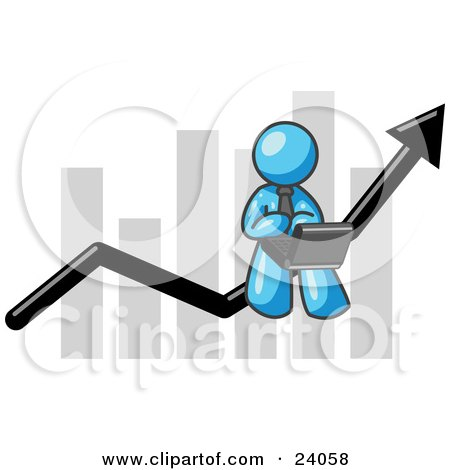 Clipart Illustration of a Light Blue Man Conducting Business On A Laptop Computer On An Arrow Moving Upwards In Front Of A Bar Graph, Symbolizing Success by Leo Blanchette