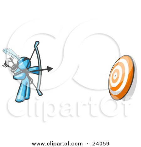 Clipart Illustration of a Light Blue Man Aiming a Bow and Arrow at a Target During Archery Practice by Leo Blanchette