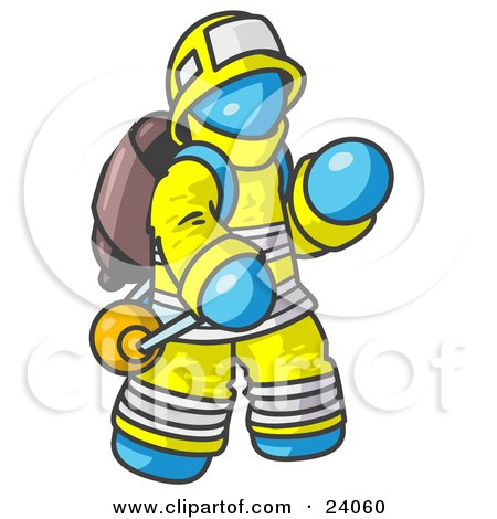 Clipart Illustration of a Light Blue Fireman in a Uniform, Fighting a Fire by Leo Blanchette