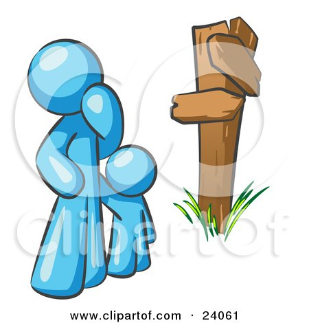Clipart Illustration of an Uncertain Light Blue Man And Child Standing At A Wooden Post, Trying To Decide Which Direction To Go At A Crossroads by Leo Blanchette